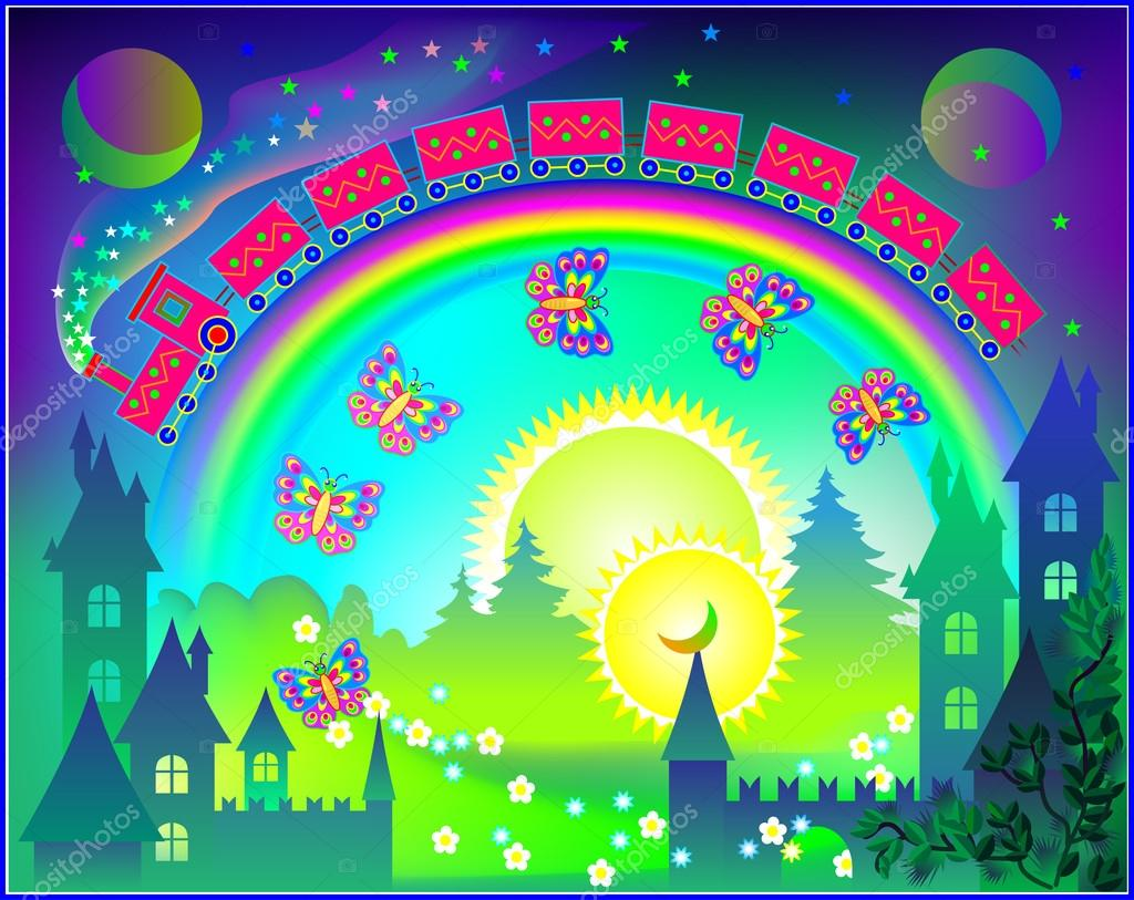 Fairyland fantasy kingdom with rainbow in the sky.