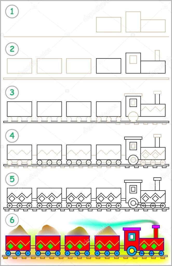 Seite Zeigt Schritt Für Schritt Zu Einen Zug Zeichnen Lernen