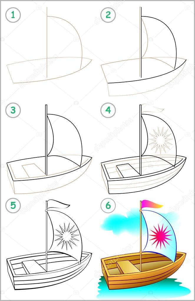 Nasıl Adım Adım Bir Tekne çizmek öğrenmek Için Sayfa Gösterir Stok