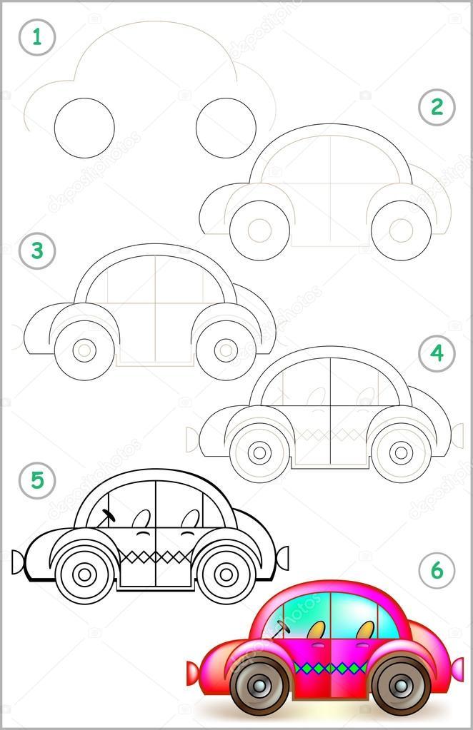Pagina Toont Hoe Te Leren Stap Voor Stap Tekenen Van Auto