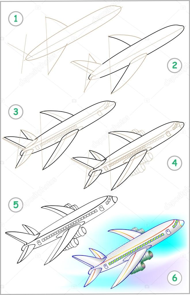 Aeroplane Drawing For Kid Step By Step Page Shows How To Learn