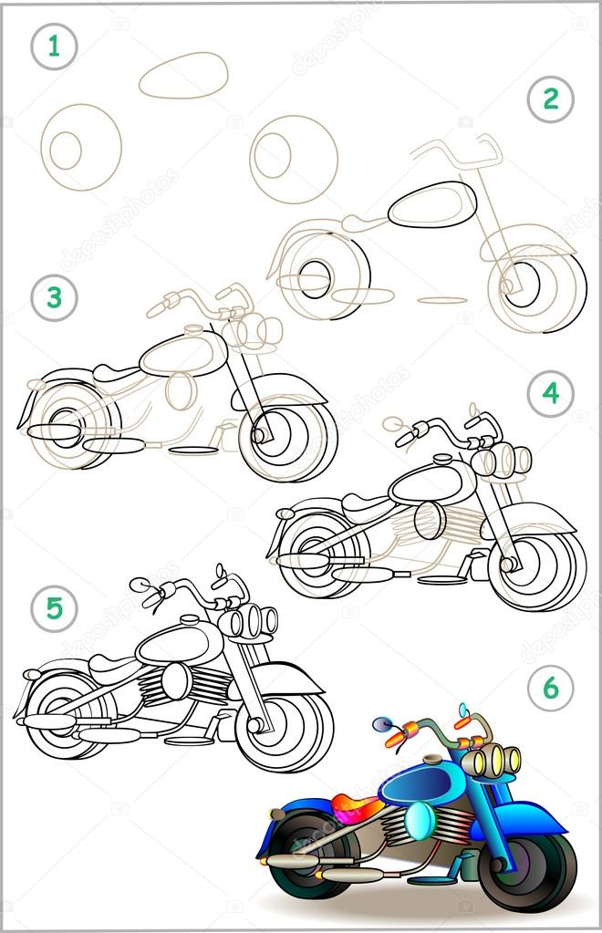Page Shows How To Learn Step By Step To Draw Motorcycle Stock