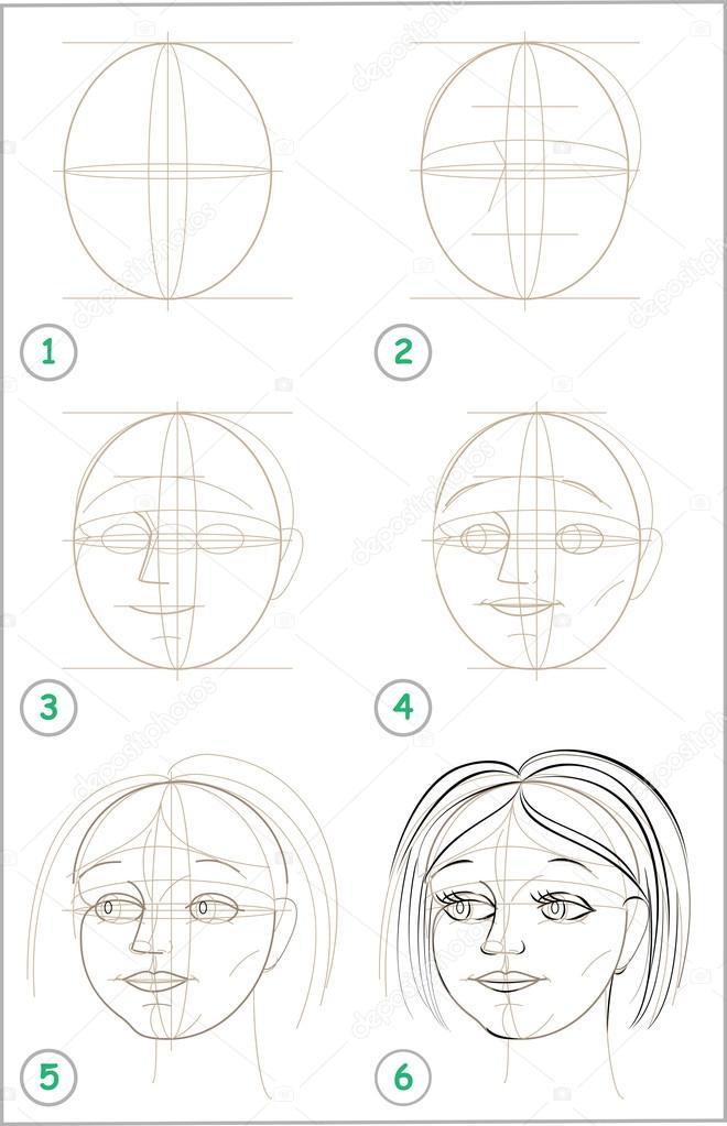 Seite Zeigt Wie Schritt Fur Schritt Zu Lernen Madchen Kopf Zu