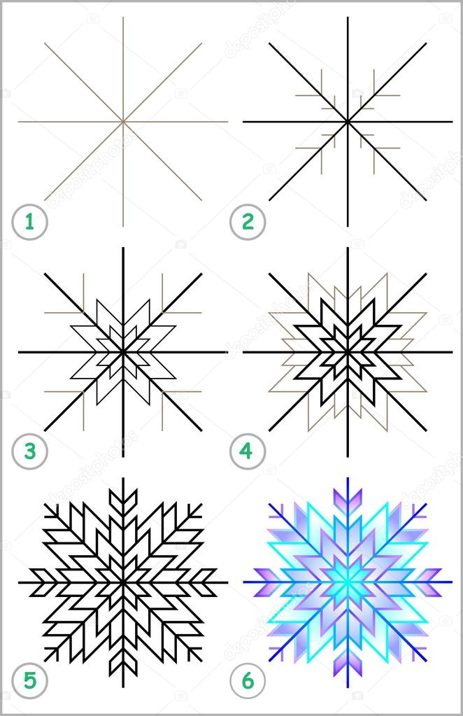 Page Shows How To Learn Step By Step To Draw A Snowflake Stock