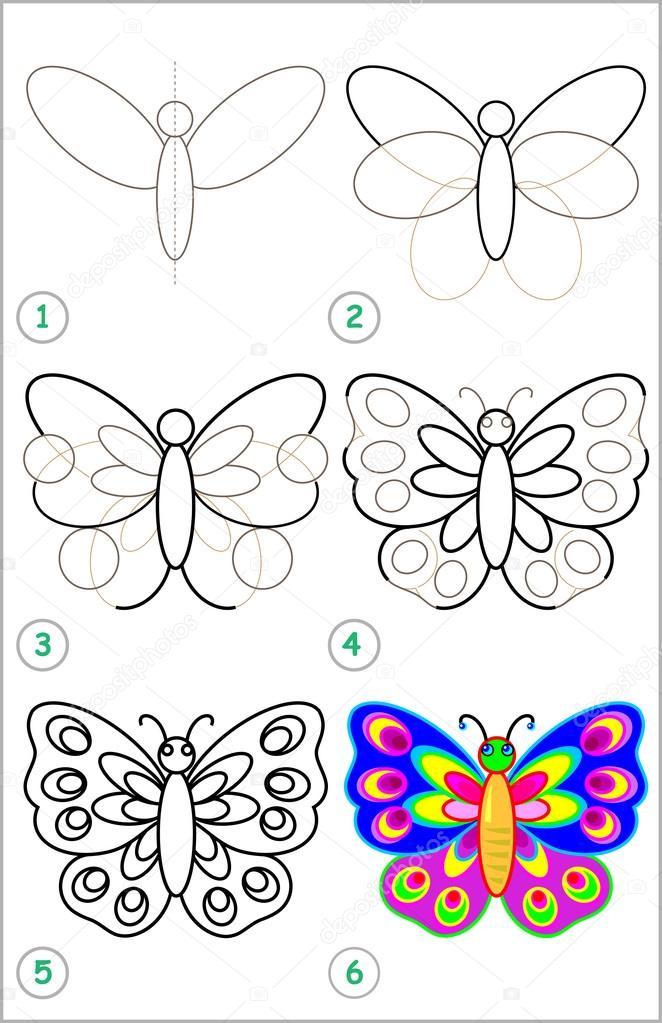 Seite zeigt Schritt für Schritt lernen, einen Schmetterling zeichnen ...
