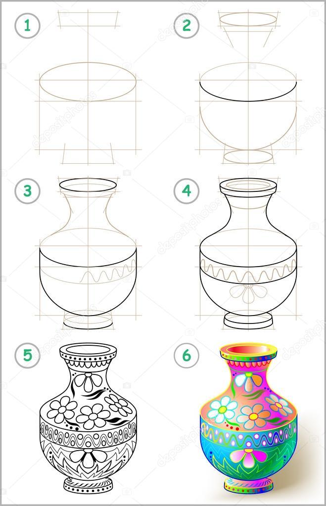 Pagina toont hoe te leren stap voor stap tekenen van mooie - Dessiner un vase ...