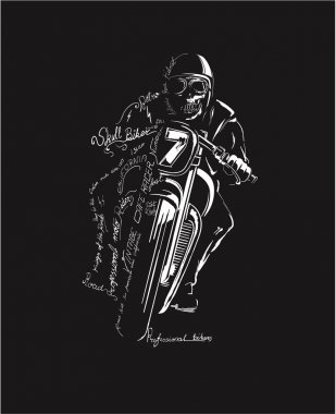 vintage motorcycle racer silhouette