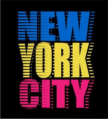 New York City neon typography, t-shirt graphics