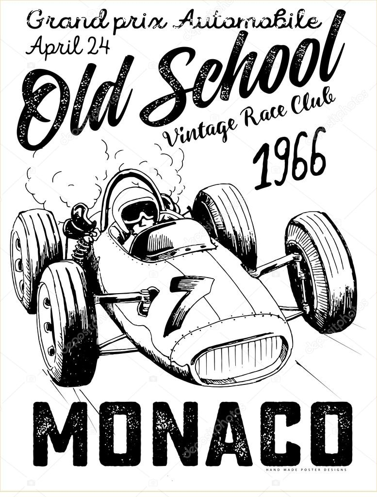 Vintage Race Car For Printing Vector Image By C Swsctn80 Hotmail Com Vector Stock 106453272
