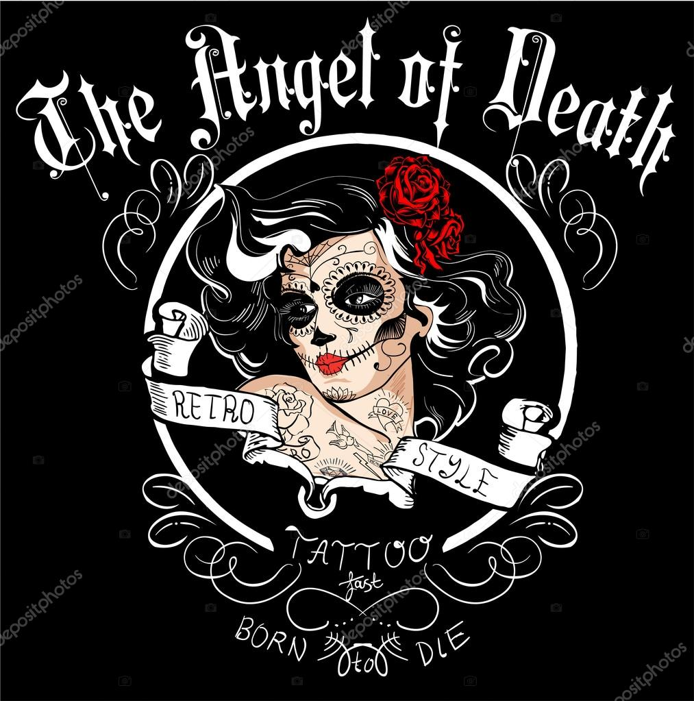 Anioł śmierci Tatuaż W Stylu Retro Grafika Wektorowa