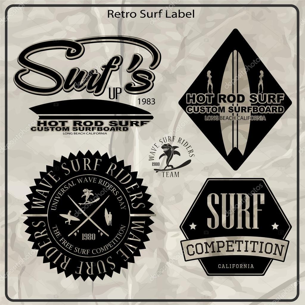 Vintage Surf Elements Labels Stock Vector