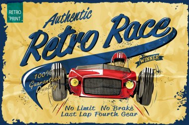 vintage race poster for printing