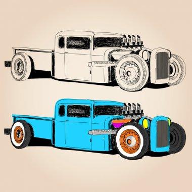 hot rod car vector sketch set