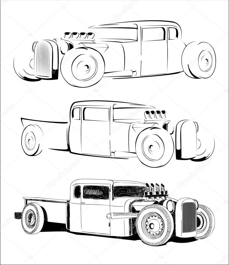 rod caliente coche vector boceto conjunto — Vector de stock ...
