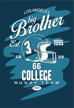 College rugby team badge in retro style