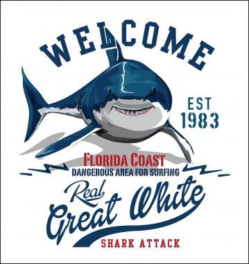 Toothy white shark illustration