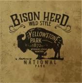 Photo vector vintage western buffalo silhouette print