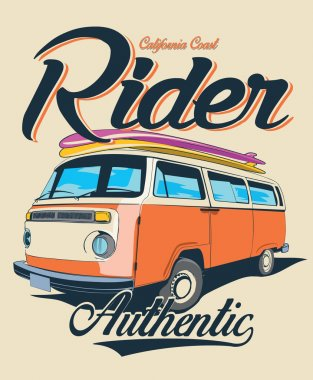 vector surf car retro bus illustration