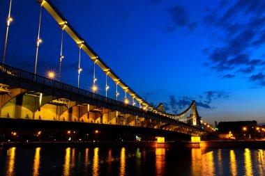 Crimean bridge at night, Moscow, Russia