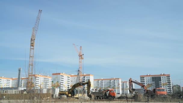 Kotrógép építési területen