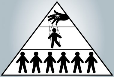Globalization. Hidden people management. Man puppet. New world order.