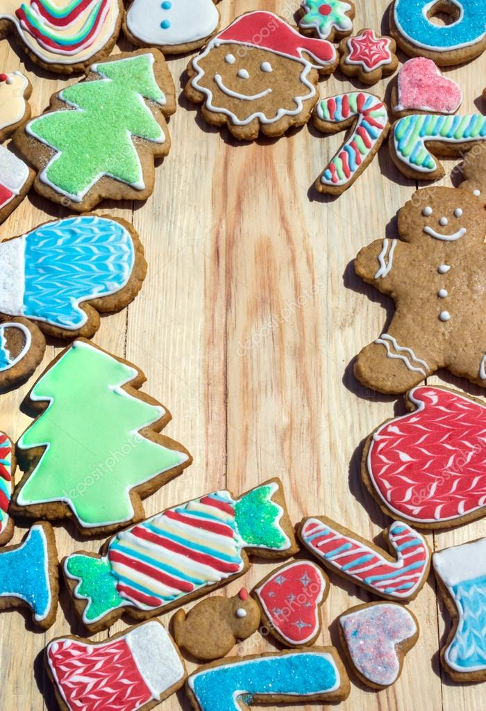 Gingerbreads are decorated for the new  year and Christmas (can be used as card)