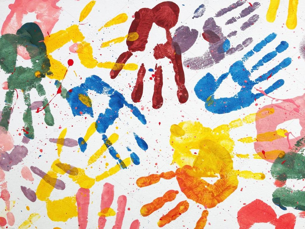 Beroemd handen kinderen kleur kunst behang — Stockfoto © h.santima.gmail #CU11
