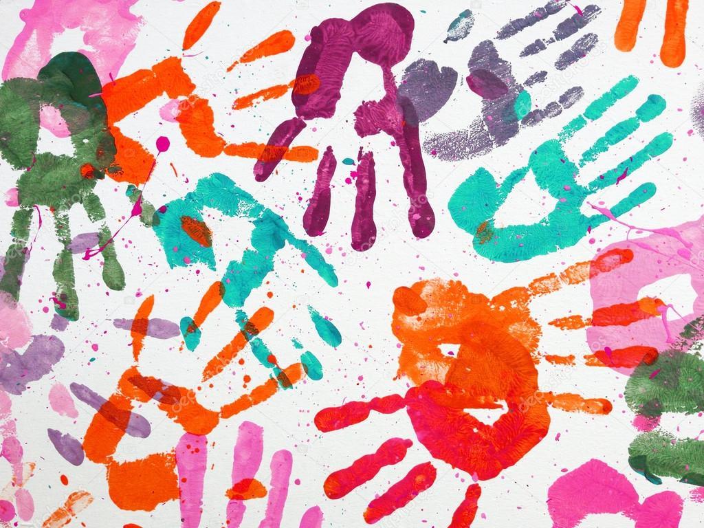 Las Manos Los Niños Arte Papel Pintado