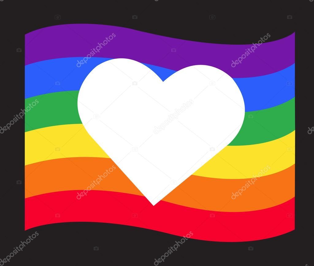 Rainbow Flag Lgbt Symbol On Heart Vector Eps10 Stock Vector H