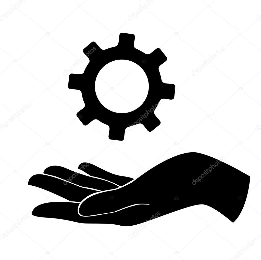Hand Holding Gear Engineer Symbol Stock Vector Hntimaail