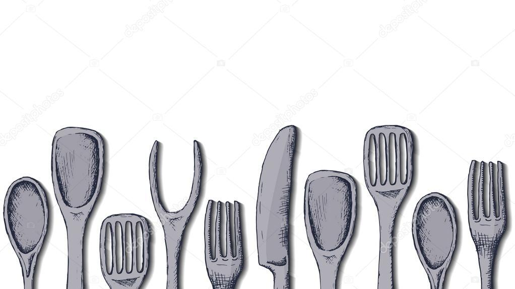 kitchen utensils vector. Vector Background Template With Kitchen Utensils \u2014 Stock
