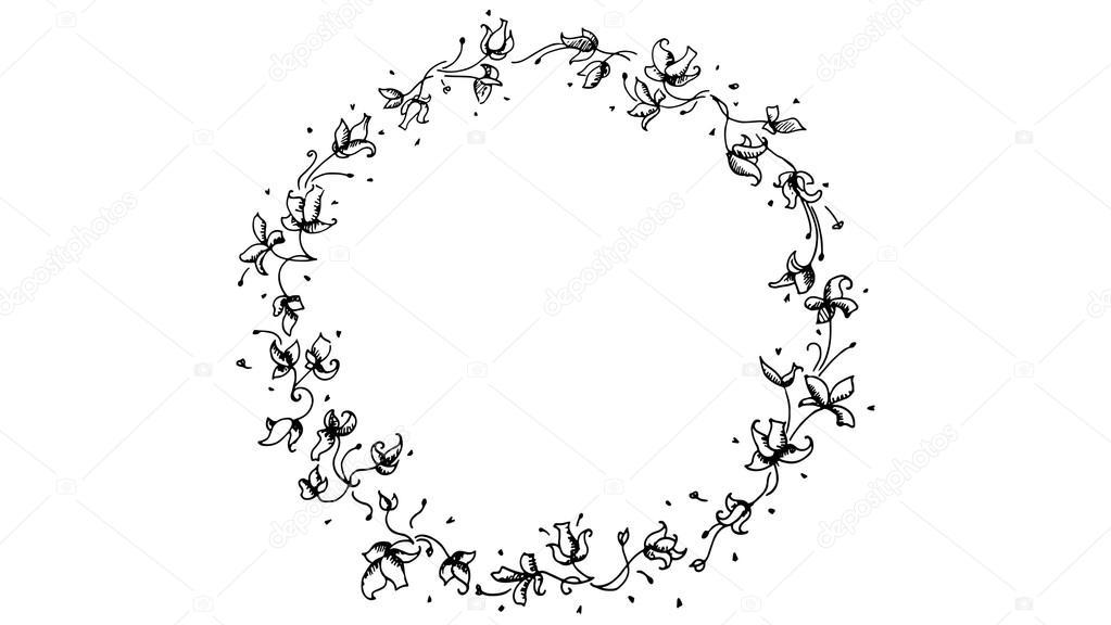 Circulo De Flores Blanco Y Negro