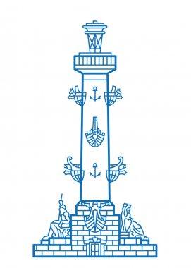 Saint-Petersburg Rostral column vector line art illustration clip art vector