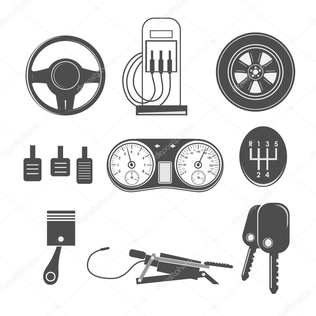 Automotive icons theme — Stock Vector © Chekky #102752612