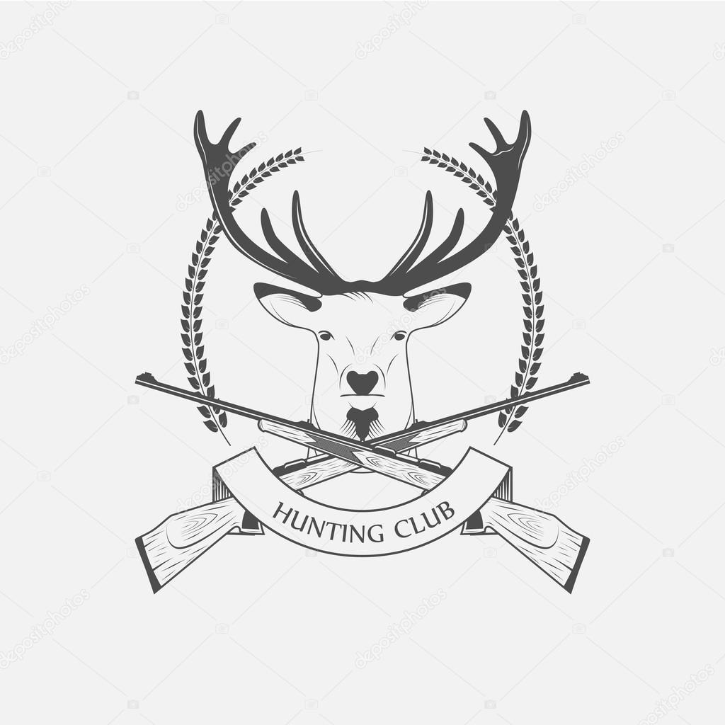 Icono de Club de caza con un rifle y ciervos — Archivo Imágenes ...