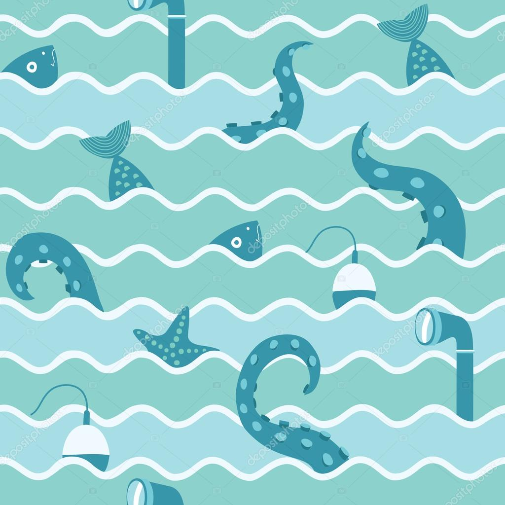 Marine Life In Wave Seamless Background