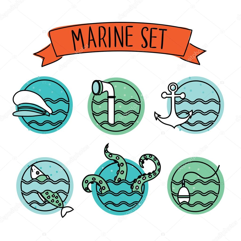 Outline Round Nautical Icons