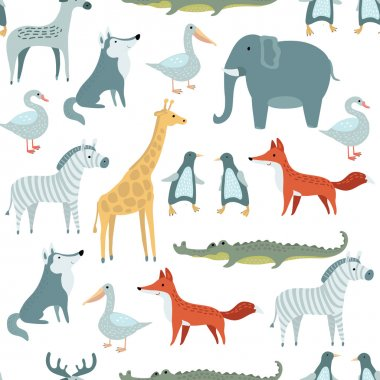 Vector seamless pattern of illustrations set of  funny cute animals stock vector