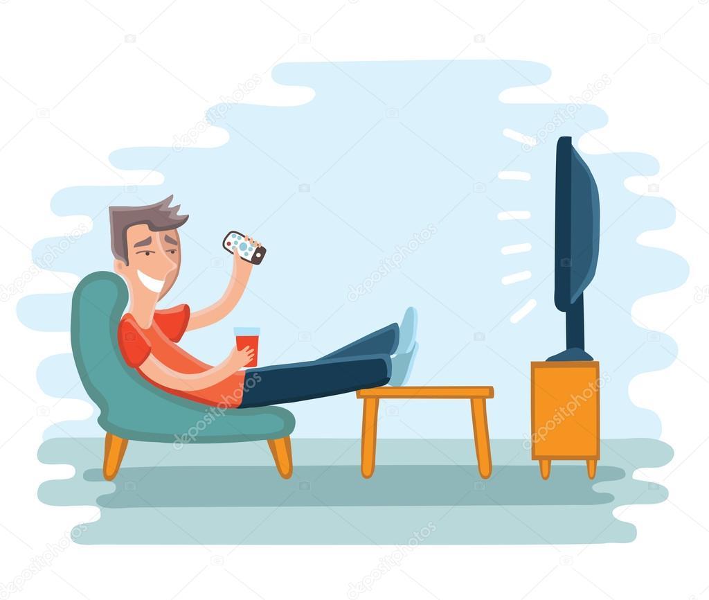 homme regarder la t l vision sur fauteuil image vectorielle cosmaa 108302222. Black Bedroom Furniture Sets. Home Design Ideas
