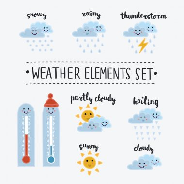 Funny smiley weather icons set
