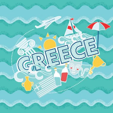 Colorful Greece holidays banner
