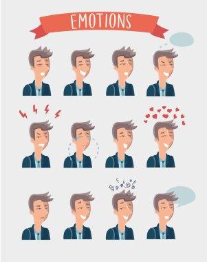 Men emotions avatars set
