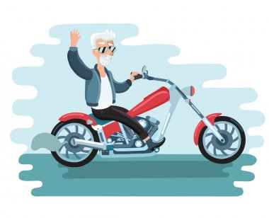 cartoon biker ride motorcycle