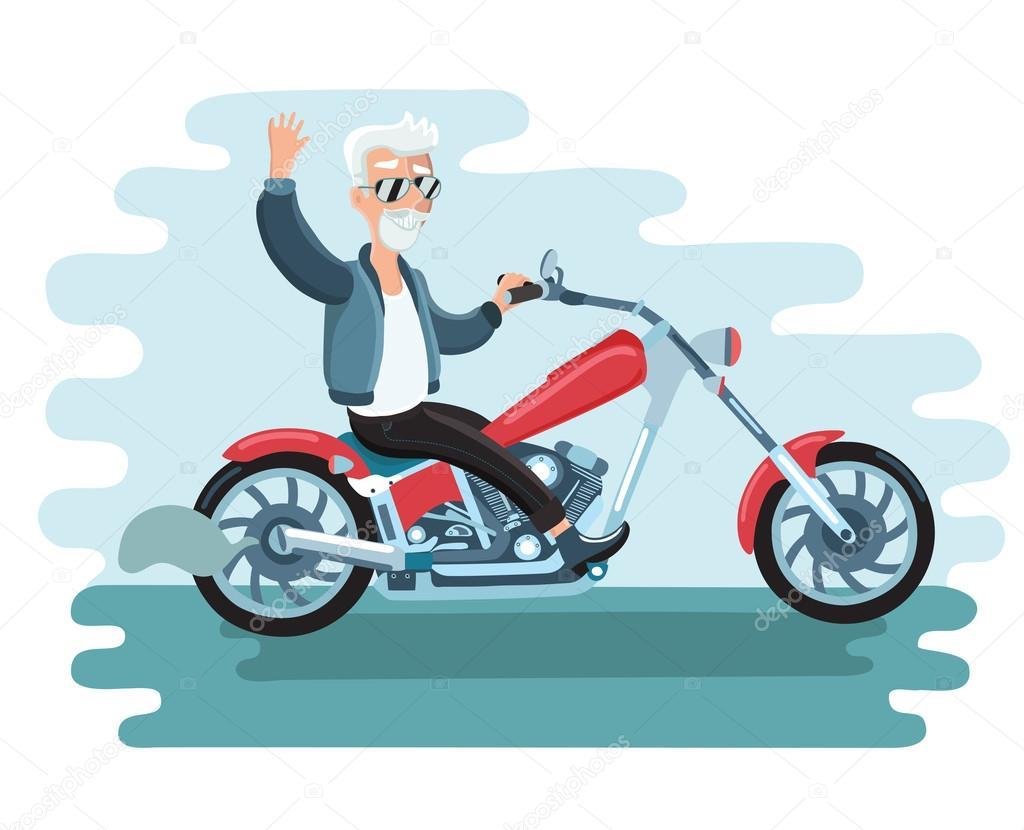 cartoon biker ride motorcycle