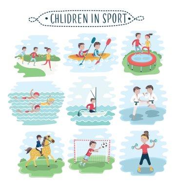 kids playing various sports set