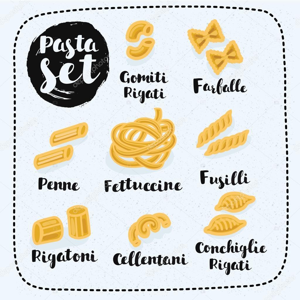 Diversi tipi di formati di pasta e disegnato a mano i nomi dei loro vettoriali stock cosmaa - Diversi tipi di pasta ...