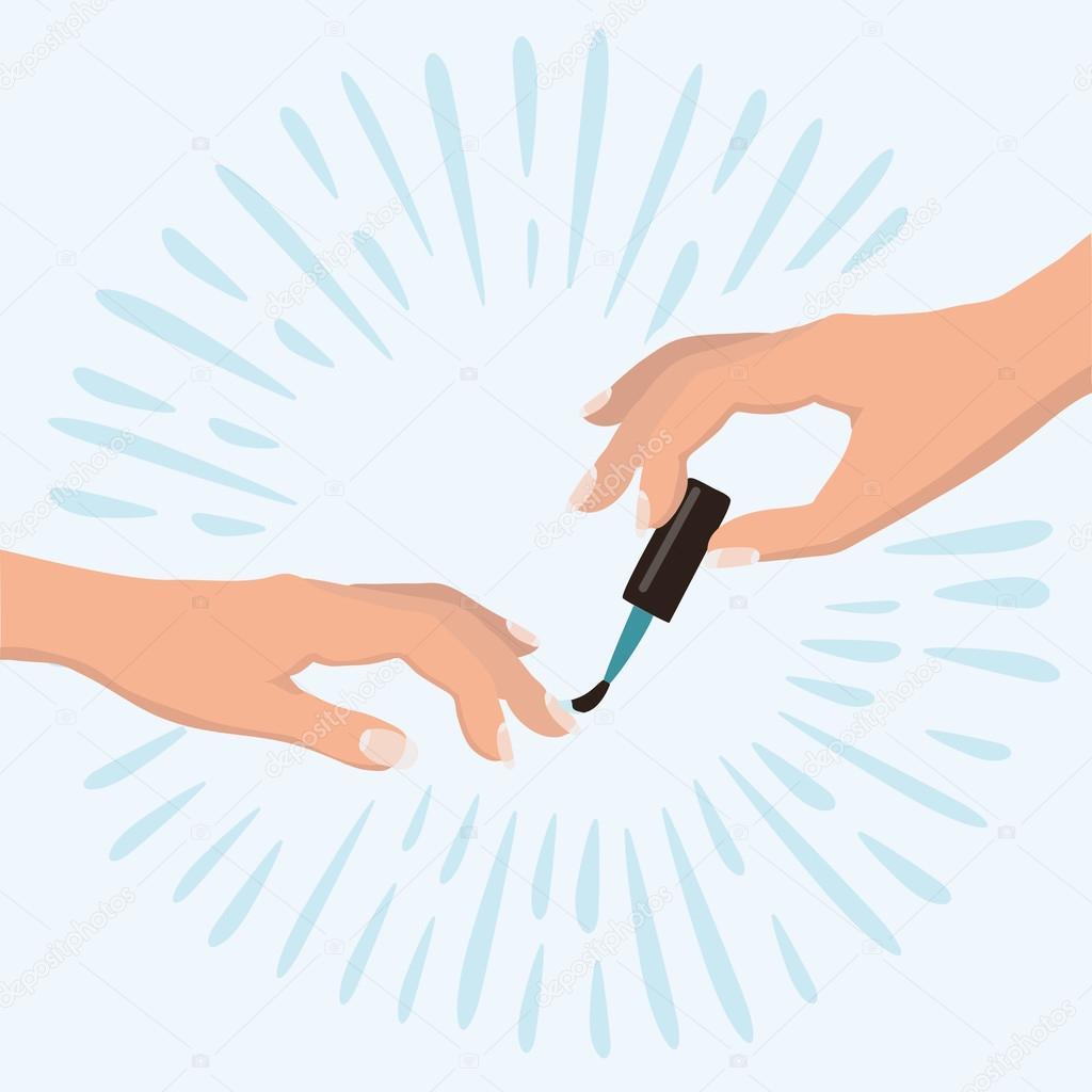 Mujer elegante manos haciendo una manicura aplicando esmalte de uñas ...