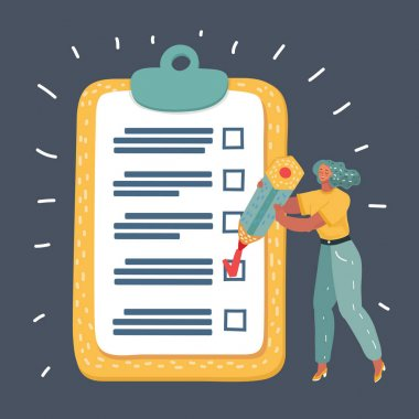 Vector cartoon illustration of woman make mark on checklist. A big long list of business planning. Human character on dark background. icon