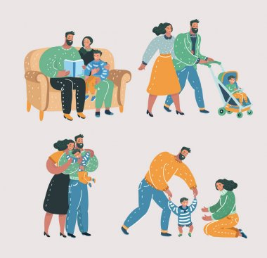 Vector cartoon illustration of Set scenes of family life. Mother, father and son. Reading book, walking with stroll, help make first step, give a hug. icon