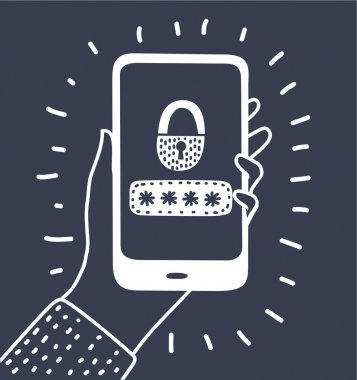 Vector cartoon illustrton of password protection icon, password design. Black and white outline illustration on dark background. Human hand hold smartphone. icon